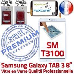 en à 8 Ecran 3 SM-T3100 Qualité T3100 Galaxy Assemblée TAB3 Supérieure Vitre PREMIUM Samsung coller Blanche Tactile TAB Prémonté Verre SM inch Blanc