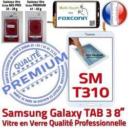 Assemblée Galaxy Samsung Tactile T310 PREMIUM SM-T310 en Supérieure TAB3 Coller Prémonté Vitre TAB Qualité SM Ecran 3 Blanche Verre à 8