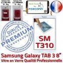 Galaxy SM-T310 TAB3 Blanche Supérieure Coller Ecran Assemblée Verre en à Qualité Samsung Vitre Tactile 8 PREMIUM inch Prémonté