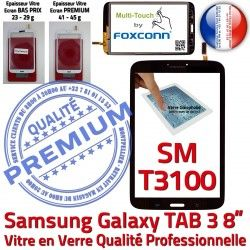 Ecran Tactile Supérieure coller TAB3 Galaxy Prémonté Noire en Assemblée Qualité PREMIUM Verre inch SM-T3100 8 Vitre Samsung à