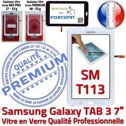 Blanc PREMIUM Samsung LCD Tab3 TAB3 LITE Blanche Galaxy en Ecran Verre Tactile SM-T113 SM T113 Supérieure Adhésif Prémonté Vitre Qualité Assemblée