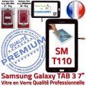 TAB3 LITE SM T110 Noire 7 Prémonté Verre Tactile Galaxy SM-T110 PREMIUM Adhésif Noir Assemblée Supérieure Ecran Vitre Samsung Qualité en LCD