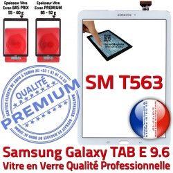 Tactile Assemblée Qualité T563 Samsung Verre PREMIUM Ecran TAB Blanc E B SM-T563 Prémonté Supérieure SM Adhésif Vitre Galaxy Blanche TAB-E 9.6