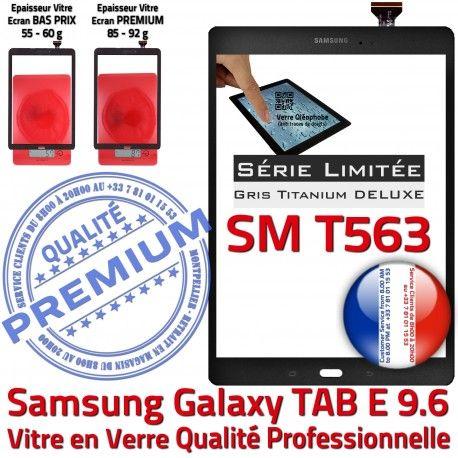Samsung Galaxy TAB-E SM T563 G Tactile Limitée Qualité PREMIUM Série Adhésif Assemblée 9.6 Ecran Titanium SM-T563 Grise Verre Vitre Gris