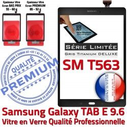 PREMIUM Samsung Anthracite Limitée Galaxy 9.6 Assemblée TAB-E T563 Vitre Tactile Qualité Ant Ecran Série Adhésif Gris Verre SM-T563 SM