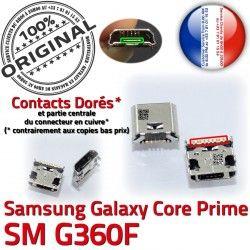 Micro Pins USB de Galaxy Prime à SM souder Prise G360F Samsung ORIGINAL Dorés charge SM-G360F Chargeur MicroUSB Fiche Core Dock Qualité Connector