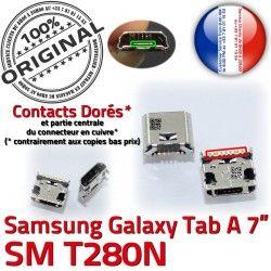 Dorés Prise Samsung Tab-A Galaxy souder à Fiche de Dock SLOT Chargeur Connector ORIGINAL Qualité Pins charge USB TAB-A SM-T280N MicroUSB