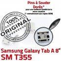 Samsung Galaxy Tab A T355 USB TAB Dock charge Dorés souder Connecteur Micro SM Chargeur ORIGINAL 8 Connector inch Pins à de Prise