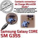 Samsung Core SM-G355 USB Charge Chargeur SM PORT Micro souder Qualité 2 de Prise Pins Connector à Connecteur Galaxy ORIGINAL G355 Dorés charge