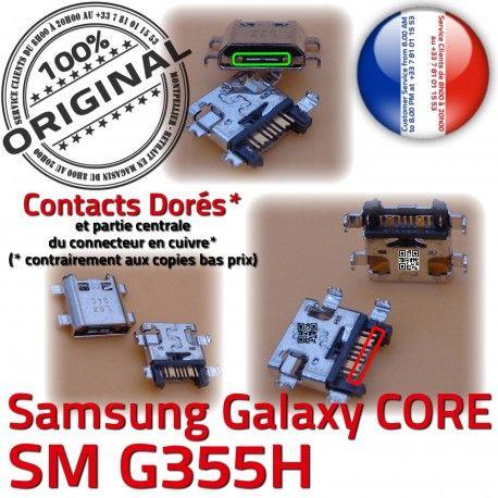 Samsung Core SM-G355H USB Charge de PORT Connecteur Connector G355H Galaxy Micro souder SM à Dorés Chargeur charge 2 ORIGINAL Qualité Pins Prise