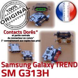 de USB Samsung Qualité Chargeur ORIGINAL Fiche TREND S Dock MicroUSB G313H charge Micro Dorés SM souder SM-G313H à Galaxy Prise DUOS Pins Connector