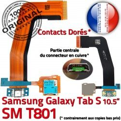 TAB-S Dorés Micro OFFICIELLE SM-T801 Nappe Charge Samsung Chargeur Ch de Connecteur Galaxy TAB USB Contacts Réparation SM S ORIGINAL T801 Qualité
