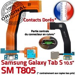 Réparation SD Dorés TAB-S de SM-T805 Qualité T805 Micro ORIGINAL Charge Lecteur Nappe S USB Contacts Chargeur Connecteur Galaxy SM TAB Samsung