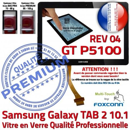 Galaxy TAB 2 GT-P5100 REV 04 N P5100 PREMIUM Verre Vitre Noire LCD Samsung TAB2 GT 10.1 en Adhésif Prémonté Ecran Tactile Qualité R Assemblée