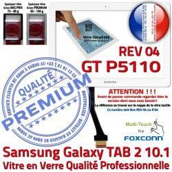 GT Prémonté en B Verre PREMIUM 10.1 Samsung Assemblée P5110 Adhésif Vitre REV LCD Ecran Galaxy Tactile TAB-2 Qualité Blanc R04
