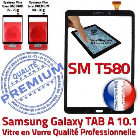 Samsung Galaxy TAB A SM-T580 N Tactile Résistante Chocs PREMIUM Qualité Ecran 10.1 TAB-A SM aux Supérieure Vitre Noire T580 Verre Noir en