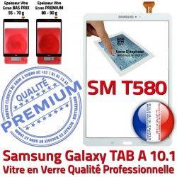 en TAB-A Blanc TAB A B 10.1 Tactile Résistante Supérieure Ecran Vitre Chocs PREMIUM SM SM-T580 Blanche Qualité Galaxy Verre T580 aux Samsung