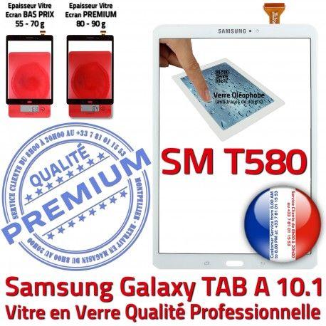 Galaxy Samsung TAB A SM-T580 B Supérieure TAB-A Vitre aux Blanche Chocs in Tactile Blanc Ecran en Verre 10.1 Résistante PREMIUM Qualité