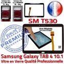 Galaxy SM-T530 Tab4 Noire TAB4 Samsung Vitre Complet Adhésif Noir Verre PREMIUM Prémonté Tactile Assemblée Qualité en Complète Écran