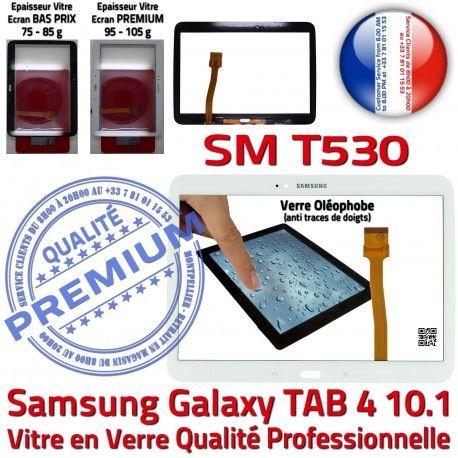 Galaxy SM-T530 Tab4 Blanche Vitre Complète Verre Adhésif Qualité Complet Tactile TAB4 Écran Blanc Prémonté Samsung PREMIUM Supérieure