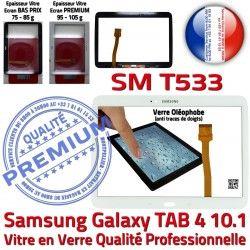 SM-T533 Blanc Tactile Complète Samsung PREMIUM Tab4 Verre TAB4 Blanche Adhésif Supérieure Galaxy Prémonté Écran Vitre Complet Qualité