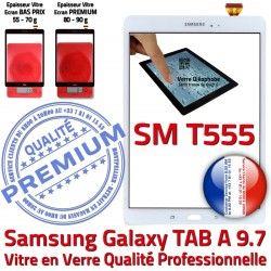Complète Tactile Écran TAB Complet TAB-A Galaxy Vitre PREMIUM Samsung Verre SM-T555 Prémonté Adhésif SM A Précollé Qualité Blanche Blanc T555