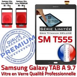 PREMIUM TAB Verre A Qualité Vitre Écran Complète Tactile Galaxy Gris Prémonté Adhésif Complet SM T555 TAB-A SM-T555 Samsung en TITANIUM Assemblée Grise