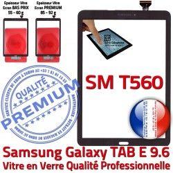 TAB-E SM Qualité Adhésif Assemblé Ecran Verre Samsung Galaxy Noir T560 Tactile Assemblée Supérieure 9.6 Noire SM-T560 PREMIUM Vitre