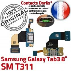 Dorés Charge Réparation Contacts TAB SM-T311 Connecteur OFFICIELLE Ch Qualité ORIGINAL MicroUSB de TAB3 3 Nappe Chargeur Samsung Galaxy