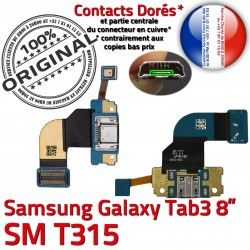 TAB T315 Samsung Dorés Ch MicroUSB Connecteur Nappe Charge SM-T315 SM de 3 Galaxy TAB3 OFFICIELLE Chargeur Qualité Contacts ORIGINAL Réparation