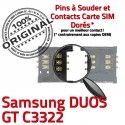 Samsung Duos GT c3322 S Lecteur Reader souder Connector Pins SIM Card Connecteur ORIGINAL Prise Contacts Carte OR à Dorés SLOT