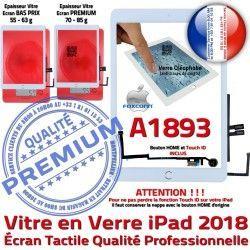 Oléophobe HOME Nappe Verre Vitre Monté Qualité Tactile Caméra iPad Fixation Tablette AIR Adhésif A1893 Ecran IC Blanc Réparation