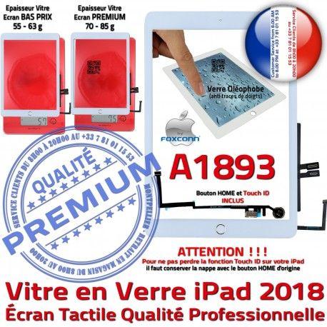iPad AIR A1893 Blanc Ecran Adhésif Nappe Vitre Fixation Caméra Verre Oléophobe Tactile Qualité Réparation HOME Tablette Monté IC