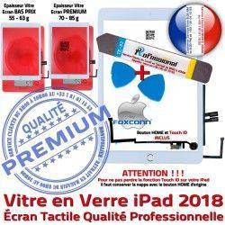 Nappe Vitre HOME iPad inch Tactile 2018 Réparation Oléophobe KIT Outils Verre B Blanche Precollé Bouton PACK Qualité Adhésif PREMIUM iLAME 9.7