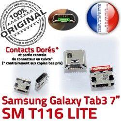 ORIGINAL T116 SM Tab à 3 Dock Connecteur Galaxy Prise charge Micro Connector Samsung Dorés TAB Pins 7 USB souder Chargeur de inch