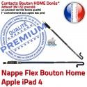 Nappe Bouton Home iPad 4 Châssis Accueil Remplacement Réparation Adhésif Tablette Poussoir Flex Apple Autocollant Precollé