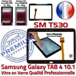 Tab4 Prémonté Verre SM-T530 Samsung Assemblée Supérieure N TAB4 Ecran en Adhésif LCD Galaxy 10.1 Qualité Tactile Noire PREMIUM Vitre