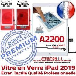 Adhésif Tactile Fixation 2019 Vitre Qualité Caméra Réparation Tablette Monté iPad A2200 Oléophobe Ecran Nappe Blanc Verre HOME