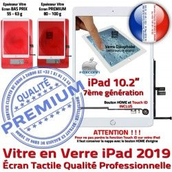 Vitre Bouton Blanc iPad Precollé Verre PREMIUM Remplacement A2197 Fixation Qualité Adhésif Ecran A2200 Caméra Oléophobe 2019 HOME A2198 Tactile