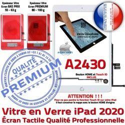 Tablette iPad Oléophobe Vitre Monté Caméra Blanc Fixation Adhésif Nappe Qualité Réparation HOME Ecran Verre Tactile 2020 A2430