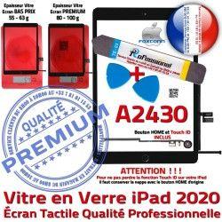 Qualité Oléophobe PACK Tactile Noire Verre N A2430 Bouton Démontage PREMIUM Vitre Réparation Adhésif Precollé 2020 HOME KIT Outils iPad