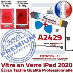 Vitre Precollé Verre B Blanche Oléophobe HOME KIT PACK iPad Outils A2429 Qualité 2020 Bouton Adhésif PREMIUM Tactile Nappe Réparation