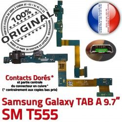 Galaxy C de MicroUSB Nappe Réparation Doré SM Qualité Charge TAB SM-T555 Chargeur Connecteur Samsung ORIGINAL A OFFICIELLE Contact T555