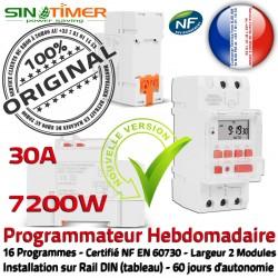 Programmateur Commande Chauffage Digital Programmation Tableau Automatique Rail Électronique DIN 30A 7200W 7kW Journalière électrique