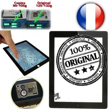 iPad2 Apple A1395 A1396 A1397 ON Touch Tactile Qualité Ultraviolet Caméra Monté Frontale ORIGINAL Verre 2 Noir Oléophobe Multi Adhésif Fixation Home Vitre iPad