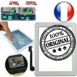 A1459 Fixation Home Qualité Ultraviolet Oléophobe 4 Apple Verre Caméra Multi A1458 Frontale Tactile iPad4 Adhésif Touch A1460 Blanc Vitre Monté OB ORIGINAL iPad