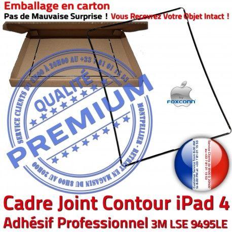 Joint Plastique iPad 4 N Contour Apple Vitre Châssis Cadre Noir Ecran Réparation Adhésif Tablette Tactile Precollé Autocollant ABS