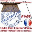 Joint Plastique iPad 4 A1459 N Autocollant Tactile Adhésif Contour Precollé Apple Cadre Réparation Châssis Tablette Vitre Ecran Noir