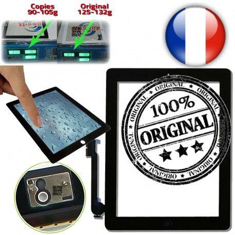 iPad4 Apple A1458 A1459 A1460 ON Ultraviolet Qualité Noir 4 Caméra Verre iPad Monté Home Oléophobe Adhésif Fixation ORIGINAL Tactile Touch Frontale Multi Vitre