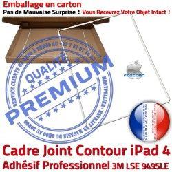 Ecran Plastique Châssis Tablette B Cadre iPad4 Joint Vitre Tactile Adhésif ABS Réparation Precollé iPad Apple Autocollant Contour 4 Blanc